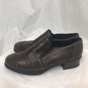 Reiker Brown Leather Slip On Shoes 5 1/2